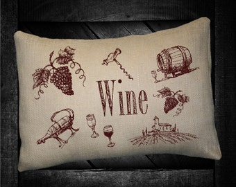 "Wine Drawings  12""x16"" Pillow Set"