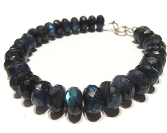Blue Faceted Labradorite Rondelles with Sterling Silver Spring Clasp
