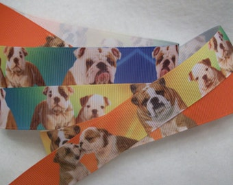 Bulldog Breed Grosgrain Ribbon 7/8""