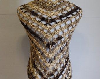 Handmade Crochet Triangular Poncho in varigatedtones of brown/beige 60x35