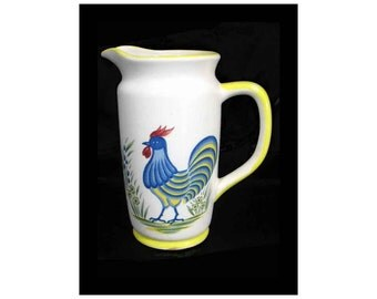 "Vintage Mann Provincial Hand Painted Ceramic Pitcher, Charming Rooster Image, 7"" Tall"