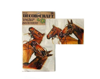 """Vintage Letraset Decor-Craft Instant Rub Off Art Transfers, Horses, Image by Terry Longhurst, Decoupage or Home Decor 9""""x7"""""""