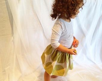Handmade girls Gold spot party skirt, gathered elastic waist, 100% cotton, giant matte gold polka dot print, Gold skirt!