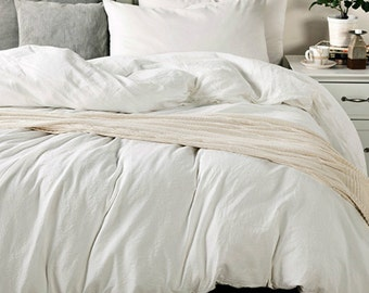 White duvet cover in medium weight washed linen, Custom Linen Duvet Cover, Extra Large