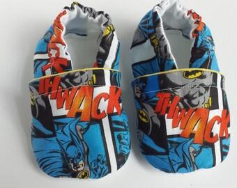 BOGO - code BOGO7 Batman soft sole baby shoes, batman moccasins, batman crib shoes, batman booties, batman baby shoes