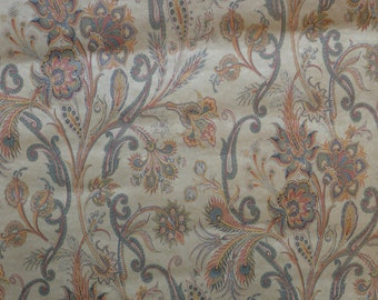 Vintage Wallpaper Paisley Navy, Brick,Gold Classic French