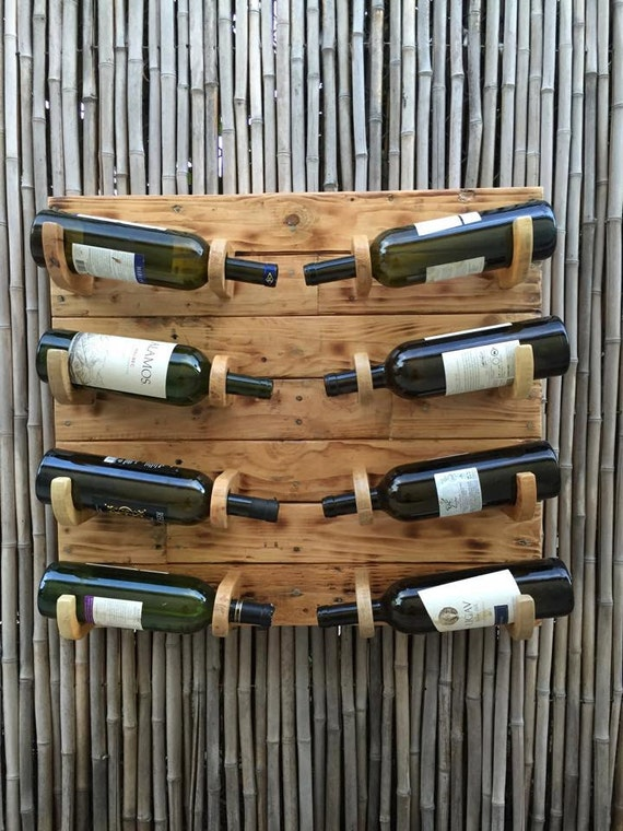 Wooden wine rack unique rustic pallet wooden 8 bottle wine - Como hacer un botellero de madera para vino ...