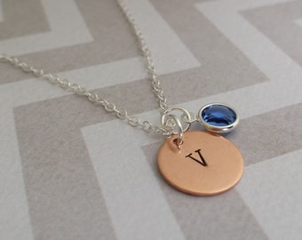 Birthstone Necklace - Personalized Initial - Minimalist Gift for Anyone.
