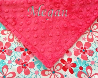 Flowers Minky Security Blanket--Aqua and Red--Lovey--Personalized