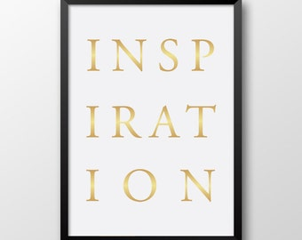 Typography print, Inspiration, Gold wall decor, 217