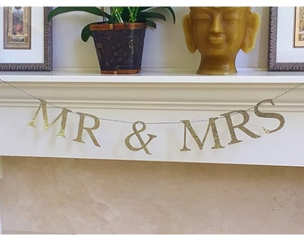 Mr & Mrs. Banner, Wedding Banner, Anniversary, Silver and Gold Glitter Banner