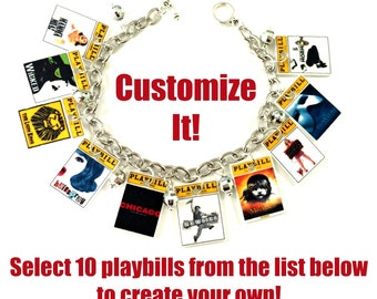 Custom Musical Theater Playbill Novelty Charm Bracelet