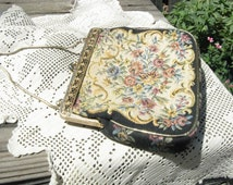 Vintage Steiner Embroidered Petit Point Tapestry Hand Bag~Mid Century Gold Metallic Floral Tapestry Evening Bag