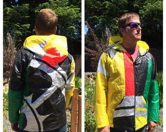 Upcycled hooded jacket made of retired kiteboarding kites