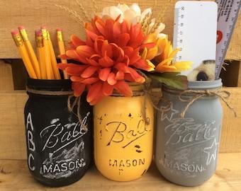 Painted Mason Jar. Back to School Decor. Teacher or Student Gift. Classroom Decor. Fall Vases. Chalkboard Paint Mason Jars. Distressed Jars.