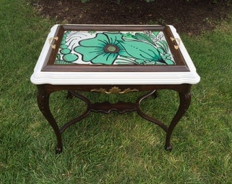 Vintage.Handpainted.Wooden.Tea.Table.with.a.Removable.Glass.Tray.Top
