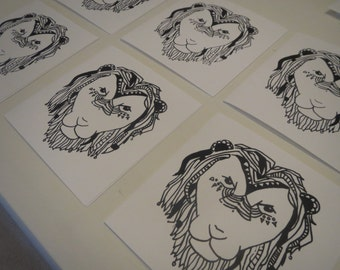 Pack of 6 Lion Print greeting cards. Original aztec lion illustration. Thank you cards. Birthday Cards