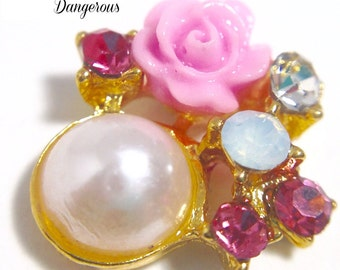 Pink and Gold Cluster Charm