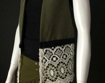Sceleton Vest, Soulspirit, Handmade, festival clothes, hippie style, vest, hippie vest, gypsy vest, boho, bohemian, woman vest, trance, Goa