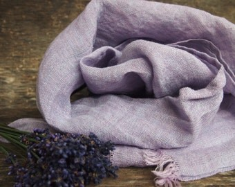 Linen Purple/Lavender Scarf, Eco Scarf, Natural Linen Scarf