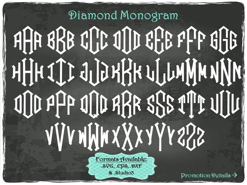 diamond monogram letters in  svg  eps  dxf  u0026  studio3 formats