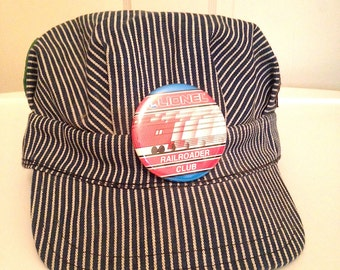 Vintage Train Lover Novelty Engineer Hat with Patches
