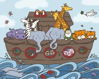 11x14, 8x10 & 5x7   Noah's Ark   Printable Digital Art Design   Instant Download Wall Art