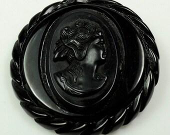 Black Carved Bakelite Cameo Pin