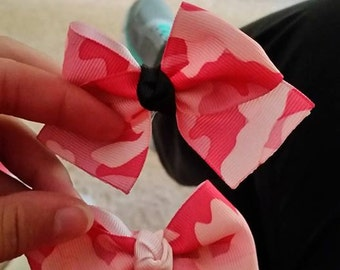 Pink Camouflage Boot Bow