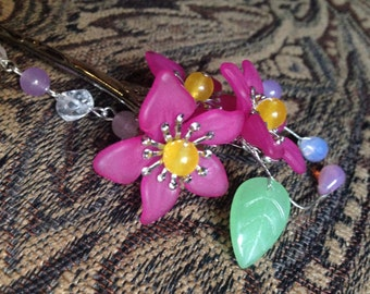 Fuchsia Flower Hair Pin