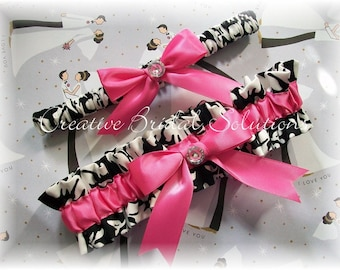 Black and White Damask with Hot Pink Wedding Bridal Garter Set, Damask Bridal Garter, Pink Bridal Garter, Hot Pink Garter, Black Garter