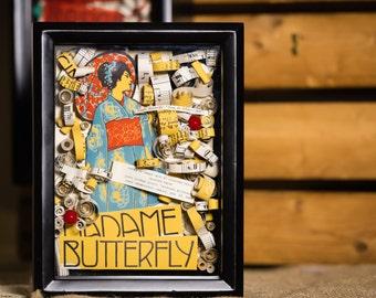 Madame Butterfly Shadow Box, Vintage Sheet Music Shadow Box