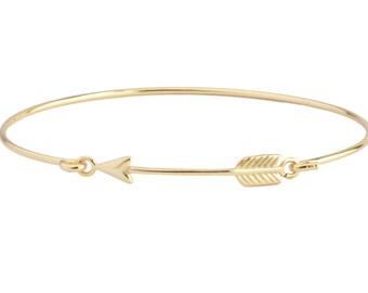 arrow bangle - Gold plated silver bracelet -pulsera flecha-arrow bracelet