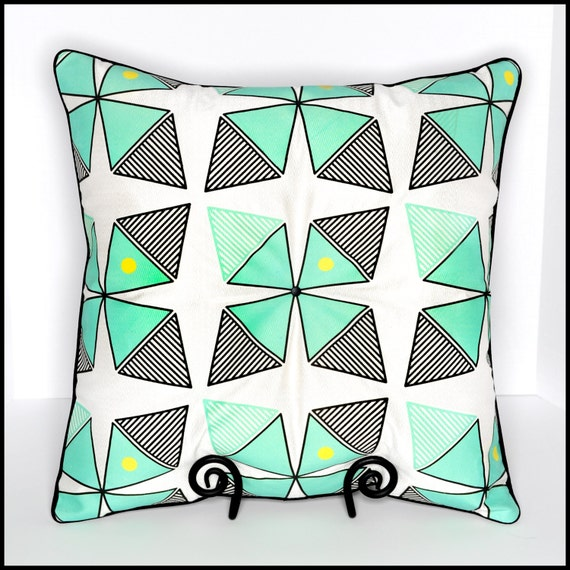 Large Teal Throw Pillow : Large tufted teal throw pillow teal black geometric by RSKSdesign
