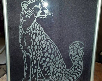 Framed Cheetah Etching Created By Hand