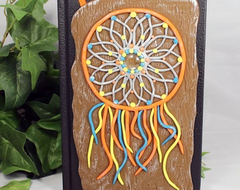Polymer Clay Dream Catcher Journal - Dreamcatcher Journal - Polymer Clay Sketchbook - Dream Catcher Book - Art Sketchbook - Drawing - 2-003