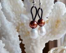 Freshwater White and Chocolate Brown Pearl Earrings