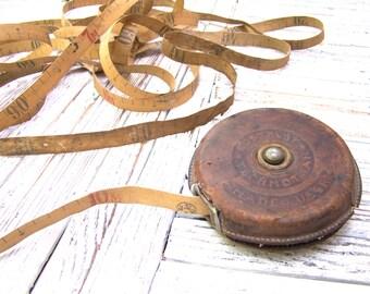 Antique Vintage  Leather Tape Measure Tape Ruler 10 m Soviet Old Tape Measure Made in USSR