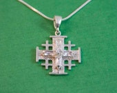 Jerusalem Cross Sterling Silver / Christmas day gift / Christian jewellery / Christian Present / Christian Religious / Jerusalem Cross