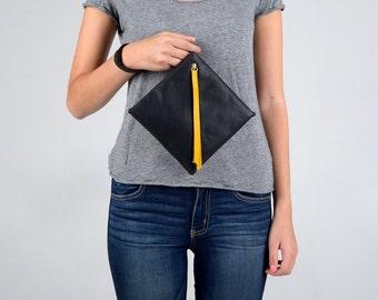 Black leather clutch, Designer purse, Geometric clutch, Leather envelope bag