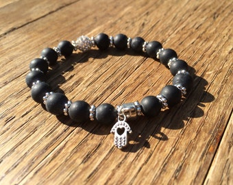 Matte Black Onyx Hand of Fatima Hamsa Gemstone Beaded Bracelet