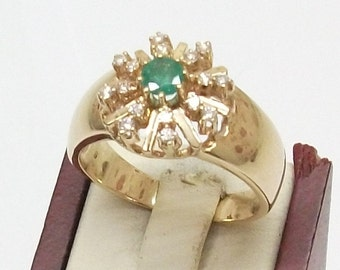 Gold Ring 585 diamond brilliant Emerald 19.8 GR106