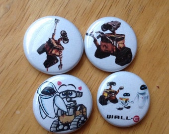 "Wall E Pin Buttons Set 1"""