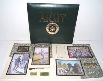 Army Scrapbook Album Premade 12 by 12 Ready for your 4 by 6 photos 20 premade pages army photo album military scrapbook album army gift idea