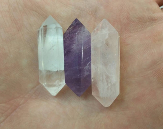 Double Terminated Crystals- Quartz, Rose Quartz, Amethyst-Natural High Quality crystals Pick Yours! Healing Crystals \ Reiki \ Healing Stone