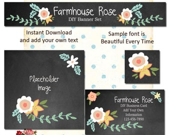 Updated Chalk Floral 2  Five Piece DIY Shop Banner Avatar and Business Card Graphics Set Instant Download