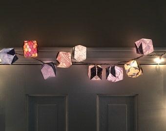 Handmade Origami Box Lanterns in  Under the Sea  Theme with White Lights & Handmade Origami Box Lantern in Bold Theme White Aboutintivar.Com