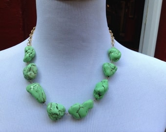 Green turquoise nuggets and gold chain necklace