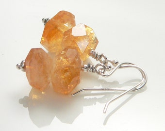 Faceted Citrine Stones and Sterling Silver findings.