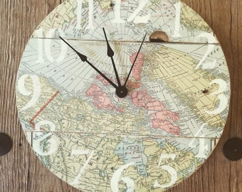 """12"""" Maps pallet clock - Sample - can custom make with similar maps"""